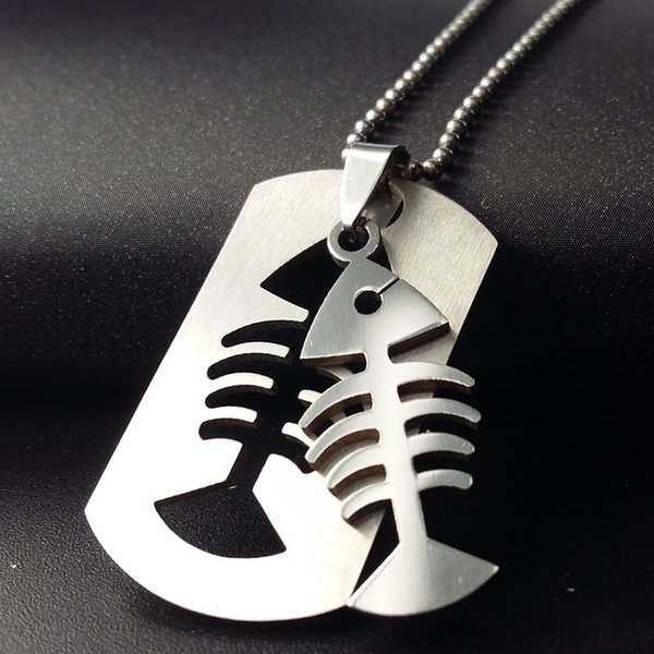10pcs stainless steel double layer fish bone charm pendant necklace detachable fish bone necklace sea bottom animal bone necklace jewelry
