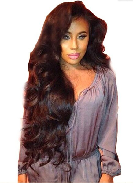 High quality 130 density Glueless full lace wigs Mongolian middle part Human hair Wavy lace front wigs for black women with baby hair