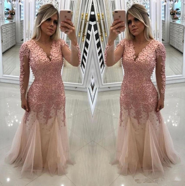 Modest Pink Long Sleeves Mother of Bride Groom Dresses Beaded Pearls Top Illusion Long Sleeves Mermaid Evening Prom Gowns