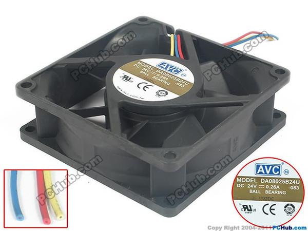 AVC DA08025B24U 083 ventilateur carré DC 24V 0.26A 80x80x25mm 3 fils