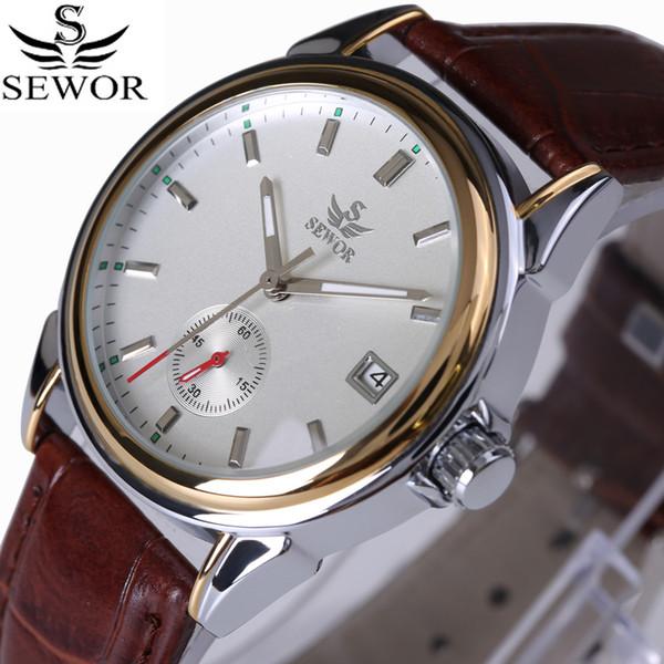 SEWOR Top Brand Fashion Design 4 Hände Luxus Männer Uhren Lederband Edelstahl Lünette Automatische Mechanische Uhr 2017 D18100709