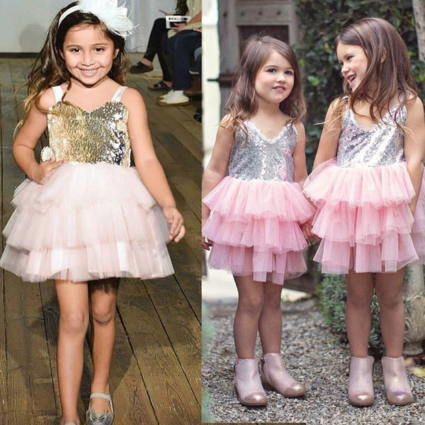 Summer Children's wear ins Europe and the United States explosion models girls sequin strap princess dress stage show cake skirt
