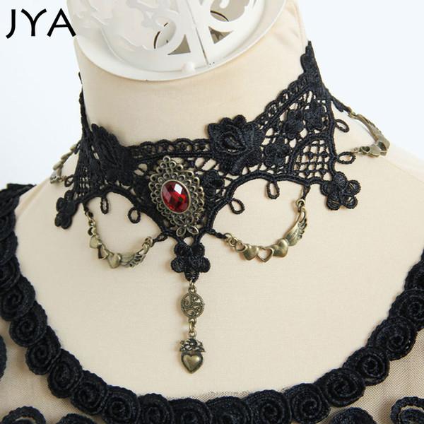 Jya панк ожерелье свадьба черное кружево ожерелье женщины колье крыло кулон ручной работы готический Викторианской Лолита ретро косплей