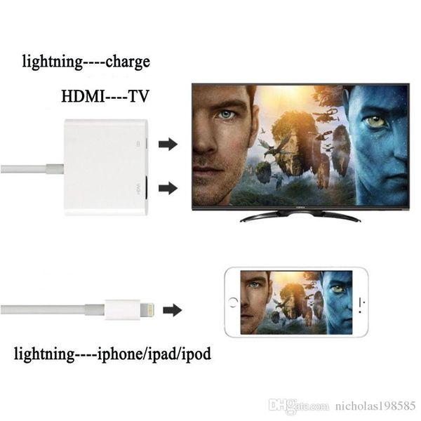 Iphone Lightn--- Digital AV Adapter HDMI Same Screen HD Adapter iPad HDMI 1080p Connector for IPAD PRO All iphone 5 5S 6 6S 7 7s Plus 8 X