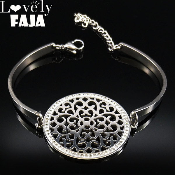 2018 Flower of Life Crystal Stainless Steel Cuff Bracelets Women Silver Color Bangle Jewelry brazaletes pulseras mujer B18320