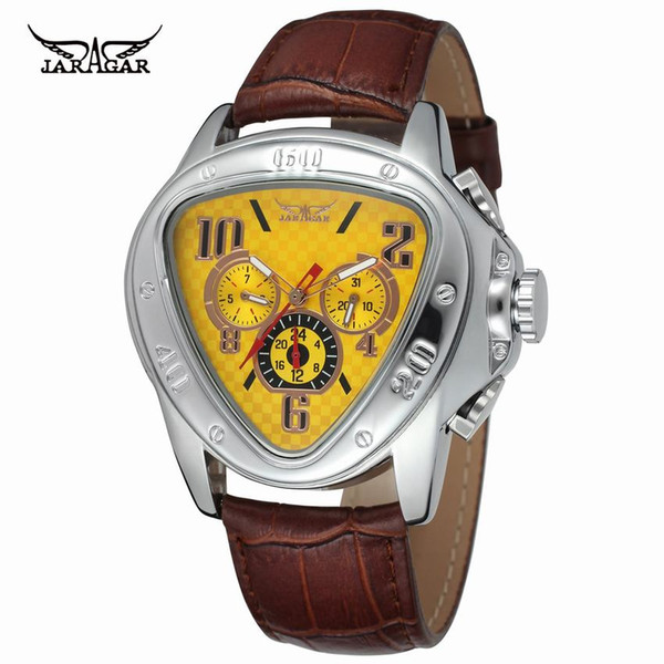 Jaragar Mens Watches Top  Automatic Wrist Watch Sport Racing Design Geometric Triangle Design Genuine Leather Strap