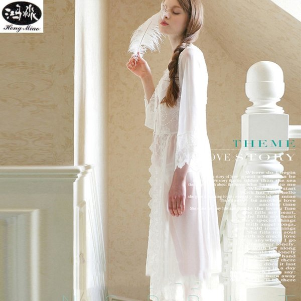 2018 Summer Dress New  Exquisite Beauty Sexy Nightdress Long White Lace Nightgown Suitable For All Women