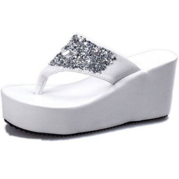 Summer Of Nice Clip Toe Diamond Waterproof Breathable Thick Bottom Wedge Heel Shoes High-heeled Sandals Female Slippers Sandals