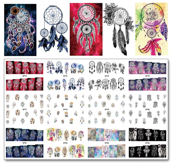 Nail 12 Sheets/Lot MT73-84 Colorful Dream Catcher Nail Art Water Decal Sticker For Art Tattoo Decoration(12 DESIGNS IN 1)