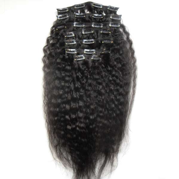 Kinky Straight Clip In Human Hair Extensions 8 Pieces And 120g/Set Natural Color Coarse Yaki Clip in Human Hair Extensions