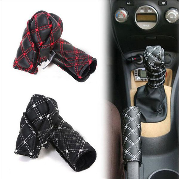 Fashion Car hand brake cover 2pc/Set Manual Shift Knob Gear Stick Hand Brake Covers Interior Accessories GGA988