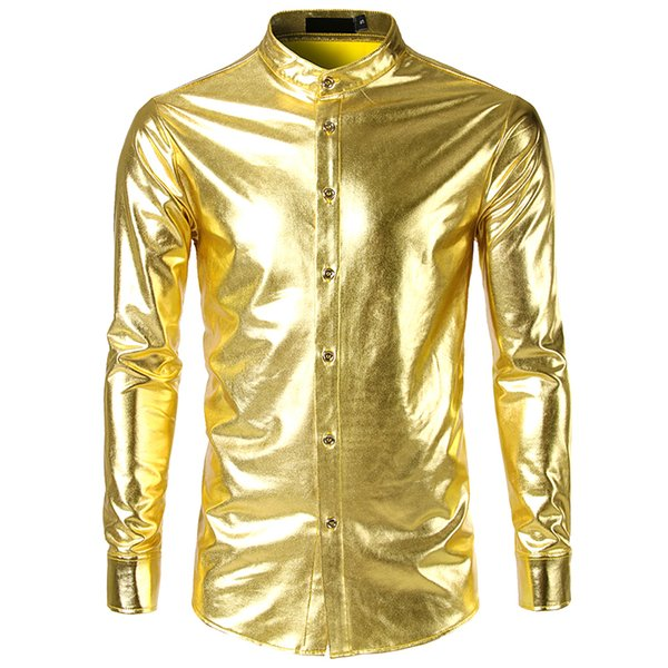 New Shirts Men Sexy Gold Silver Club Slim Long Sleeve Shirts Man Breathable Shirt Chemise Homme Camisa Masculina Size S-XXL
