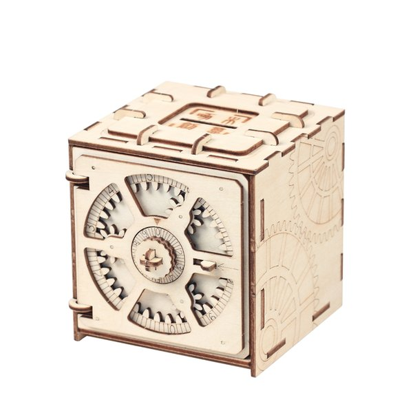 Blocks Puzzle Wood Storage Case Saving Money Box Code Design Mechanical Drive DIY Craft Assembly Kids Educational Toys Building Blocks