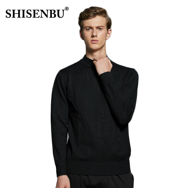 2018 autumn and winter men's essential warm knit half-neck sweater windproof cold