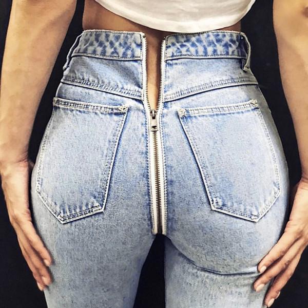 2018 For women jeans Women Back Zipper Pencil Stretch Denim Skinny Jeans Pants High Waist Trousers Summer Cotton trousers