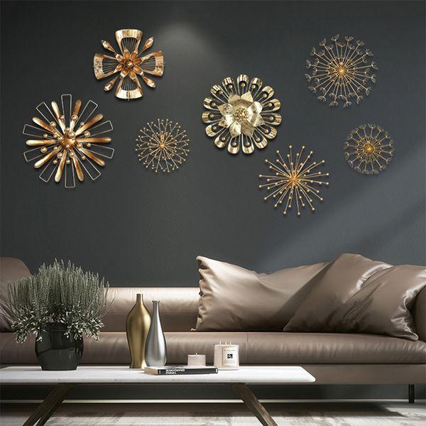 Modern Blossom Abstract Metal Wall Art Home Decor Iron Gold Wall Sticker Home Decorative
