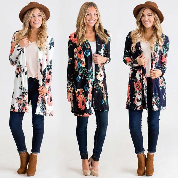 6aecb7b0183 2019 Autumn Fashion Women Boho Kimono Cardigan Floral Print Bikini Cover Up  Boho Long Loose Casual