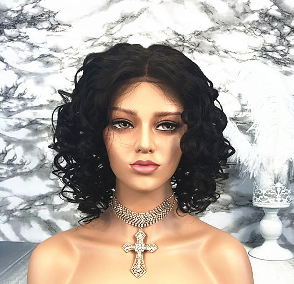 Free Shipping 10A Brazilian Virgin Human Hair Wig Big Curly Lace Front Wig Middle Part Short Bob Style Bleach Knots For Black Women