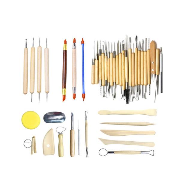 42Pcs Ensemble d'outils de sculpture en argile Kit de sculpture Sculpt Cire de lissage Sculpture Poterie Céramique Outils Modélisation Manche en Bois Sculpté Ensemble 55bm Y