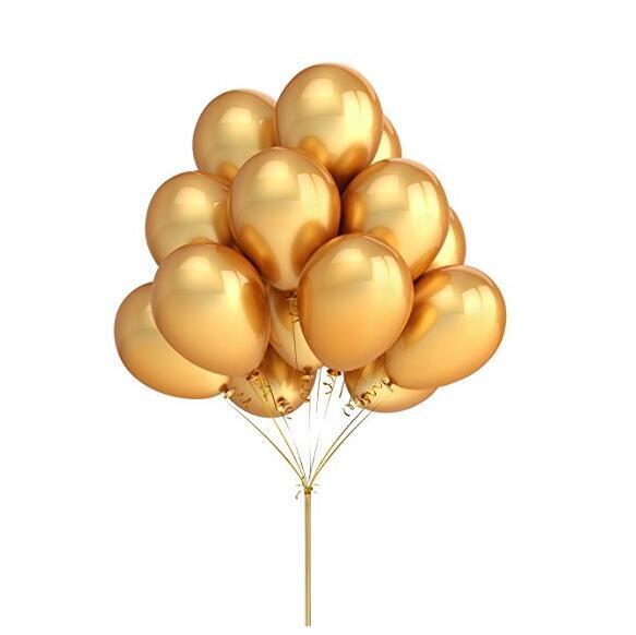 100 unids / lote 12 pulgadas Globos de látex de color dorado Accesorios de decoración de fiesta de cumpleaños de boda Favores de fiesta Proveedor de globos