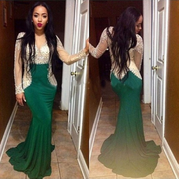 Sparkly Prom Dress Mermaid See Through Sheer Neck Sweep Train Green Long Sleeves Rhinestone Evening Dresses Party Dress