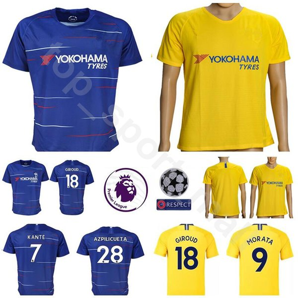 separation shoes fac96 4f1ca 2019 Men Soccer 5 JORGINHO Jersey FC Premier League Blue Home Yellow 18  GIROUD 7 KANTE 28 AZPILICUETA Football Shirt Kits Uniform Make Custom From  ...