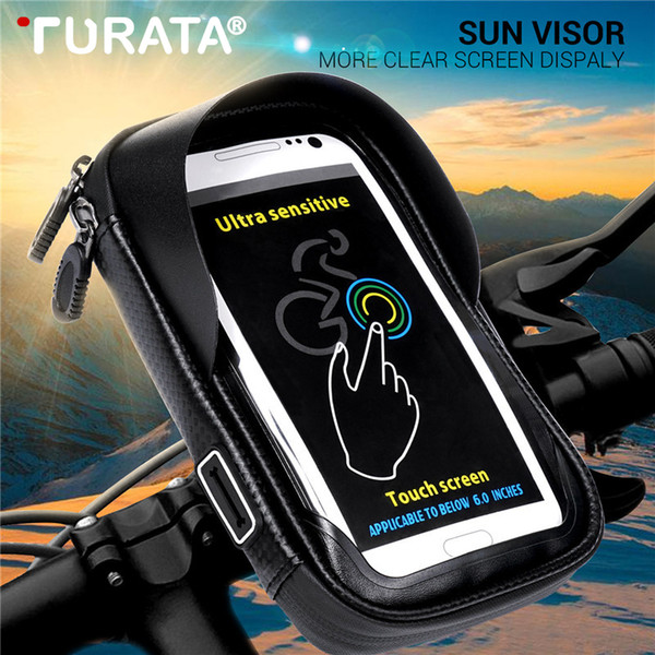 Turata 6.0 inch Waterproof Bike Bicycle Mobile Phone Holder Stand Motorcycle Handlebar Mount Bag For iphone X Samsung LG Huawei C18110801