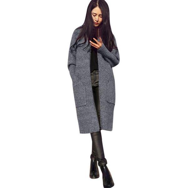 f951123e7c1278 Women Long Sleeve Oversized Loose Knitted Sweater Cardigan Outwear Coat  sweater for women lady's sweater female