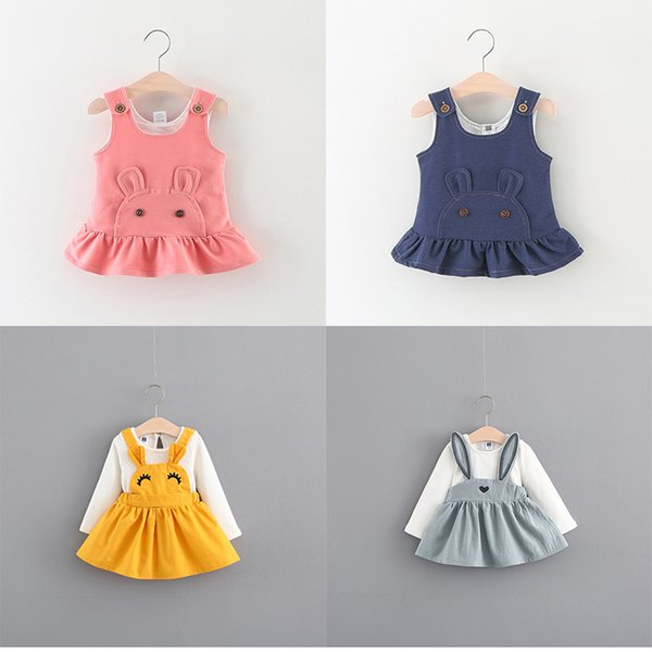 Girls Dress Bear Rabbit Ear Eyelash Vest Skirt Print Dresses Cotton Spring Summer Autumn Clothes 9M-3T