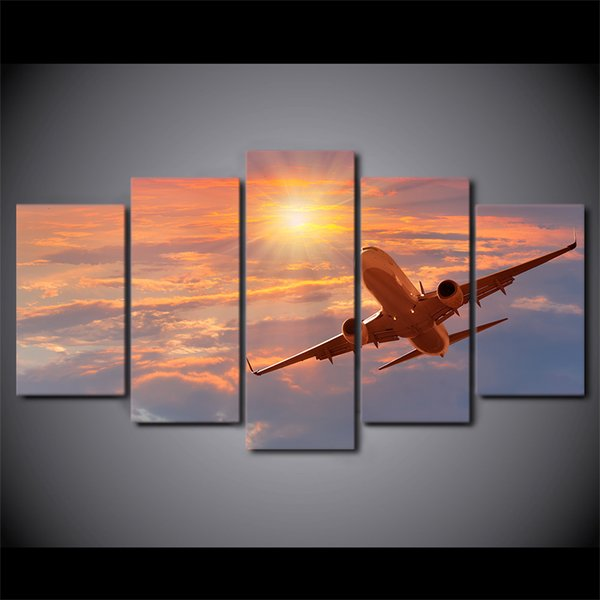 HD Printed 5 Pieces Canvas Art Painting Sunset Airplane Poster Sunset Cloud Wall Pictures For Living Room Free Shipping CU-2781C