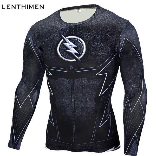 2018 Long Sleeve Sport Shirt Men Superhero 3D Compression T Shirt Quick Dry Men's Running T-shirt Gym Fitness Top Rashgard Male