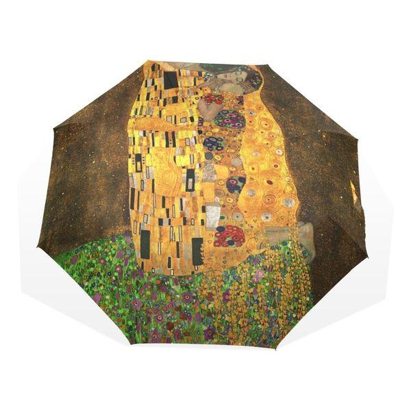 Gustav Klimt The Kiss Oil Painting Women Umbrella 3 Folding Children Umbrellas Automatic Easy Carrying Female Rain Umbrella
