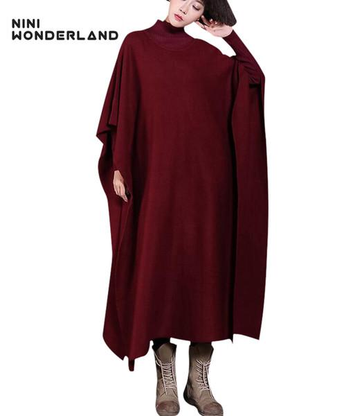 NINI WONDERLAND зимние вязаные пуловеры плащ свитер Женщины Batwing рукавом сгущать теплая вязаная мода длинное платье пальто плюс размер