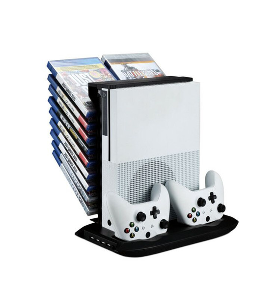 hot sale Multifunctional Disk Storage Tower with 2 Controller Charging Dock and Console Cooling Fan Cooler for Xbox One Slim Xboxone S
