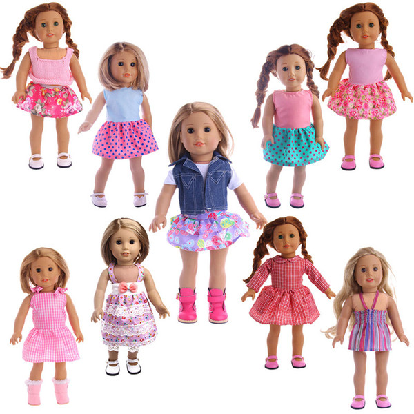 Cute 9 styles 18 inches American girl doll baby doll clothes accessories the best christmas gift for kids girls dresses set