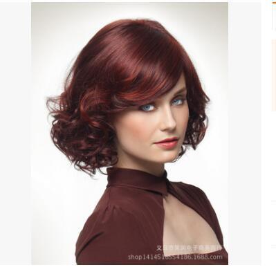 В этом году новый европейский и американский внешней торговли парик устанавливает красное вино женский большая волна волнистые волосы косые челки прямых продаж завод