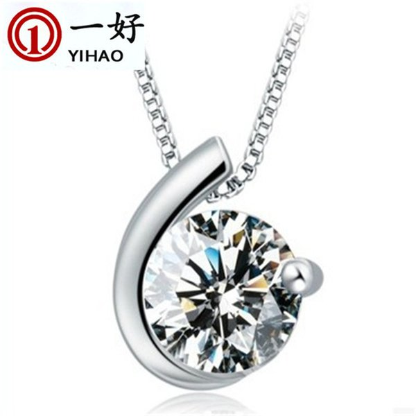 Korean Swarovski zircon silver necklace pendant jewelry with female moon Valentine's Day