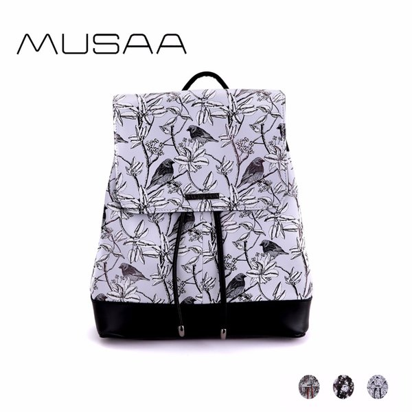 MUSAA Natural Wind Small Printing Backpacks for Teenagers Girls PU Leather Fashion Concise Fresh Flowers Birds Trees Pattern Bag