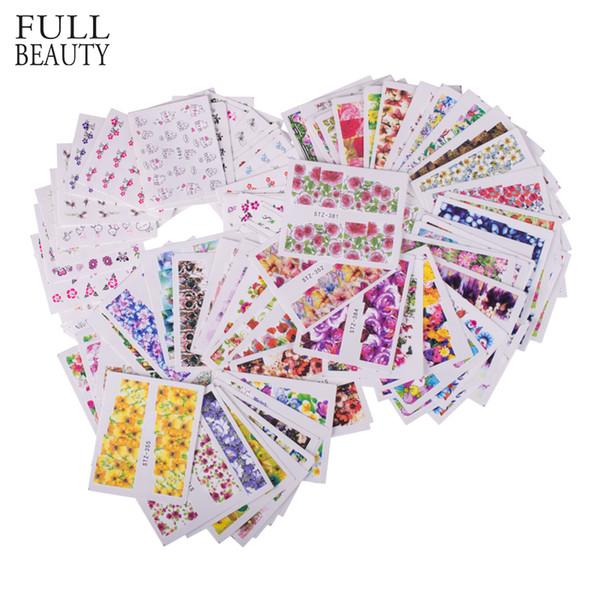 Beauté complète 98pcs ongles mixtes conçoit des fleurs autocollant ongles ensembles dentelle noire colorée décorations manucure ongles art stickers CH136