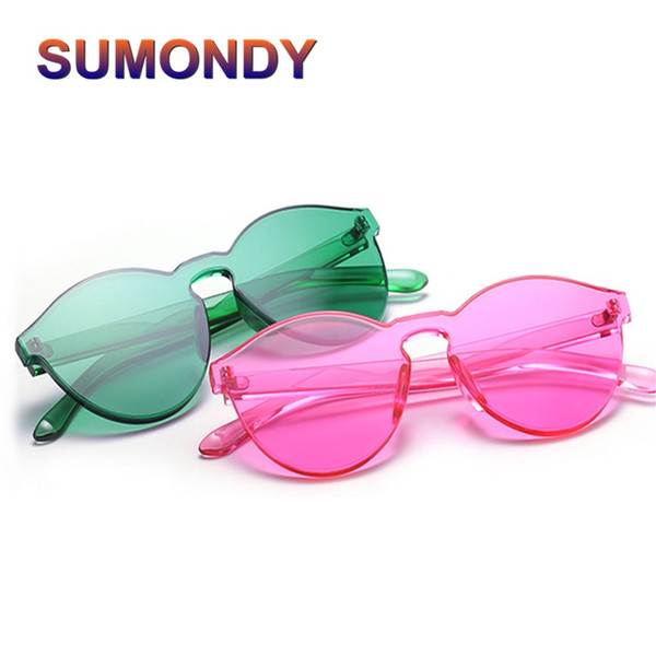 SUMONDY Vintage Ultrathin Transparent Candy-color Sunglasses Women Name Brand Designer Integrally-formed Sun Shades Oculos SU29