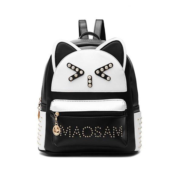 Backpacks Women Custom Stylish cartoon Bags Panda Kid's School Bag For Boys Girls Black Leather Backpack Mini Schoolbag