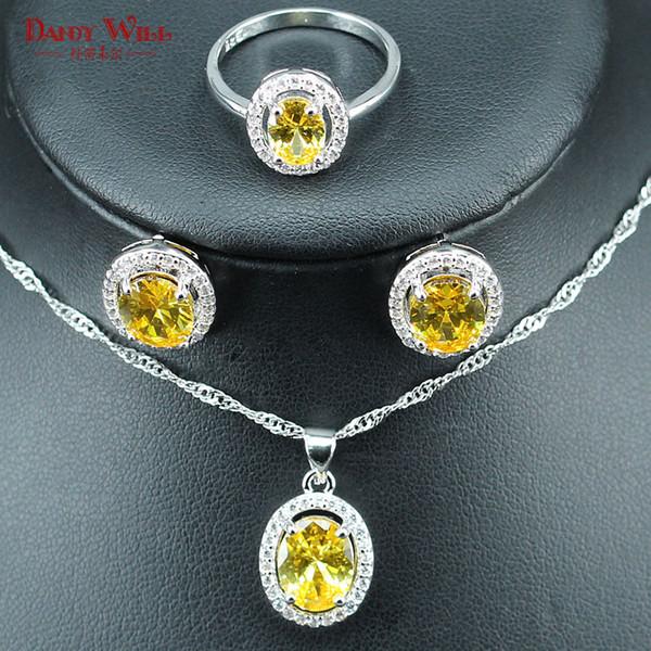 Haut de gamme dubai bijoux de femmes jaune oeuf zircon 925 couleur argent ensembles de bijoux de mariage pour bridals boucles d'oreilles / pendentifs / collier / bague