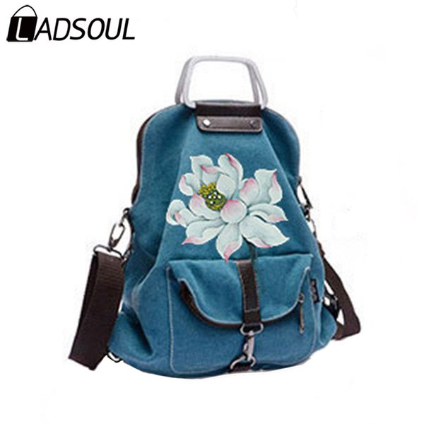 LADSOUL Backpack Chinese Style Backpack Women National Hand Painted Causal Bag Bags For Girl Female Landscape Flower Bag A5246/h