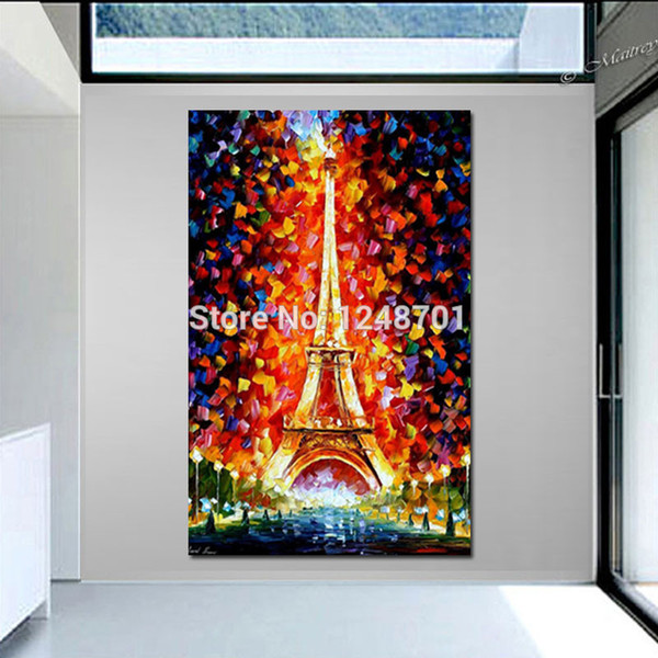 Handpainted modern thick textured landscape oil painting Paris, Eifel Tower Lighted PALETTE KNIFE art On Canvas