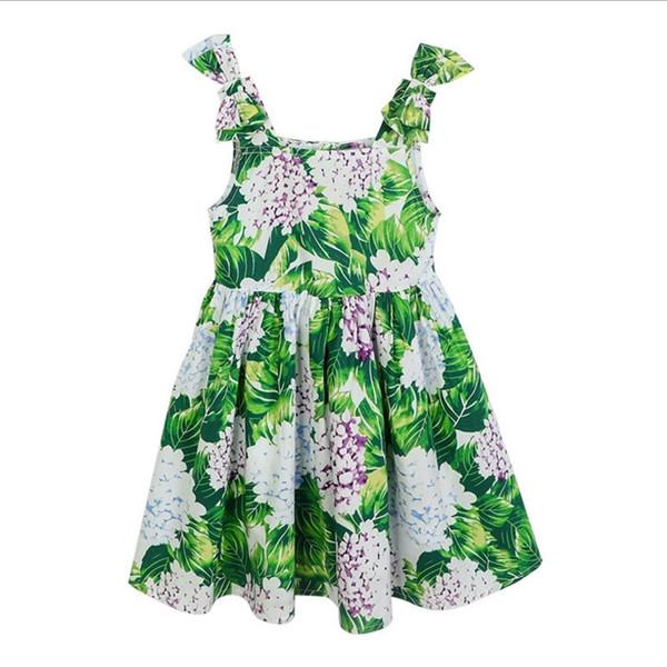 Vieeoease Girls Dress Flower Kids Clothing 2018 Summer Fashion Sleeveless Vest Bow Princess Party Dress EE-526