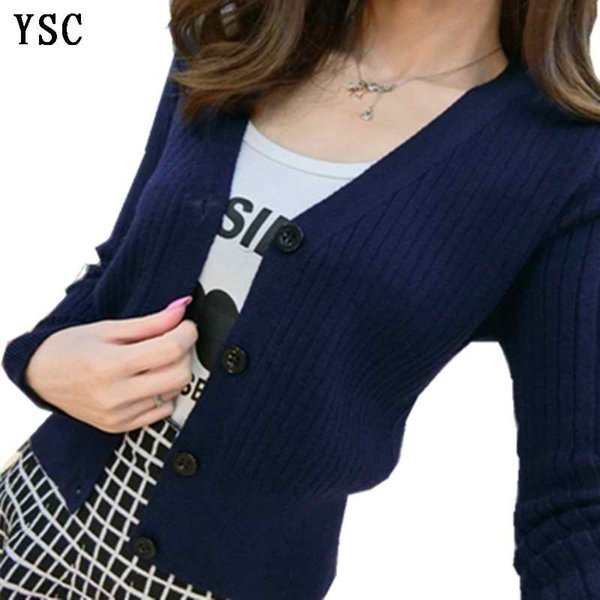 YUNSHUCLOSET 2017 New pattern fashion ladies knitted High Quality Cashmere cardigan V-Neck Short design free shipping