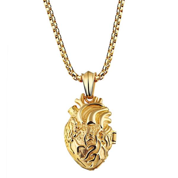 Мужчины из нержавеющей стали старинные орган сердце любовник ожерелье панк стиль открываемые пара кулон ожерелье ювелирные изделия с цепи VICHOK