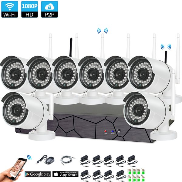 8CH CCTV Wireless 1080P NVR 8PCS 2.0MP IR Outdoor P2P Wifi IP CCTV Telecamera di sicurezza Kit sistema di sorveglianza