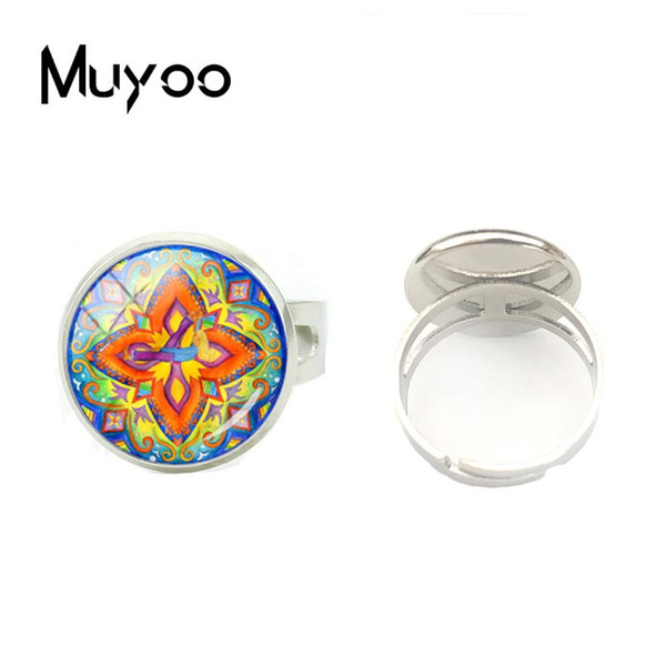 2018 New Style Vintage Glass Cabochon Om Yoga Mandala Women Ring Classic Buddhist Religious Jewelry Fashion Silver Ring Gifts