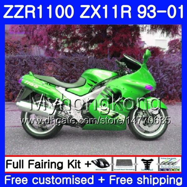 Cuerpo para KAWASAKI NINJA ZX 11R ZX11R 93 94 95 96 97 206HM.1 ZZR 1100 ZX11 R ZZR1100 ZX-11R Verde brillante 1993 1994 1995 1996 1997 Carenados